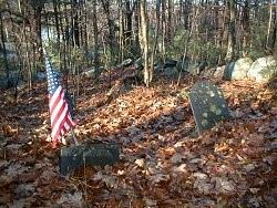 Tucker Cemetery Tombstones and American Flag